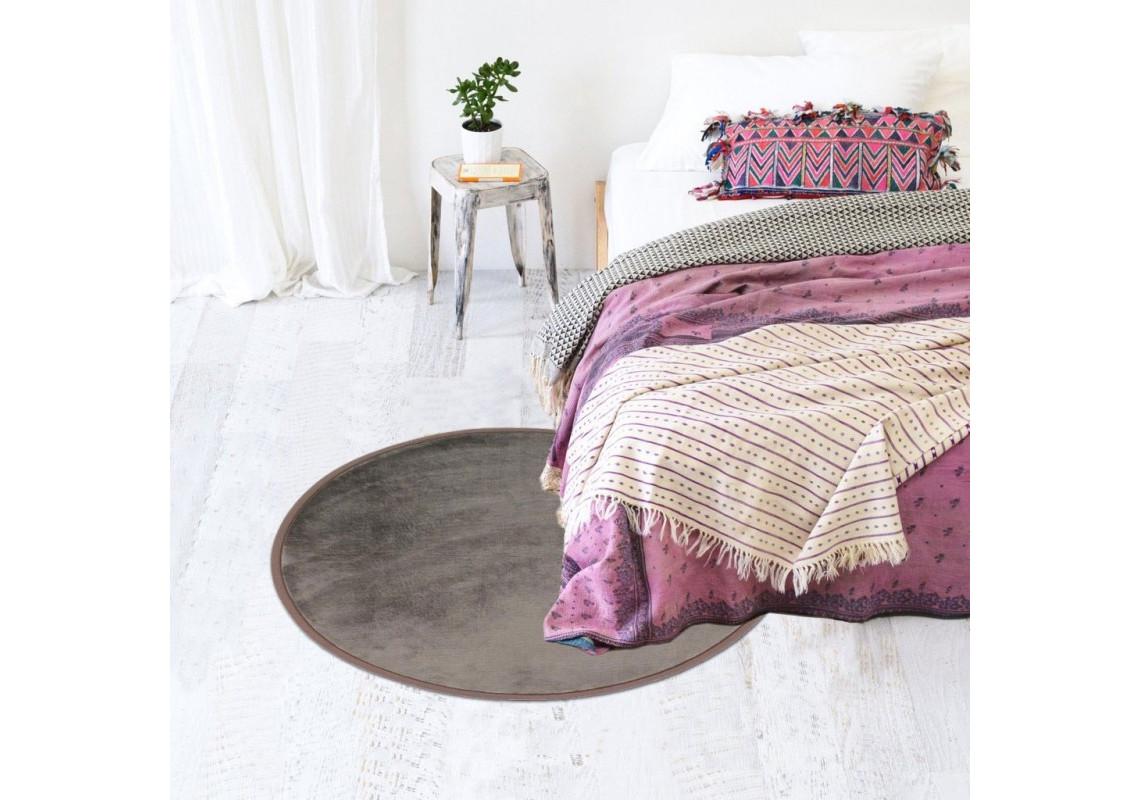 tapis rond extra doux flanelle taupe tapis salon. Black Bedroom Furniture Sets. Home Design Ideas