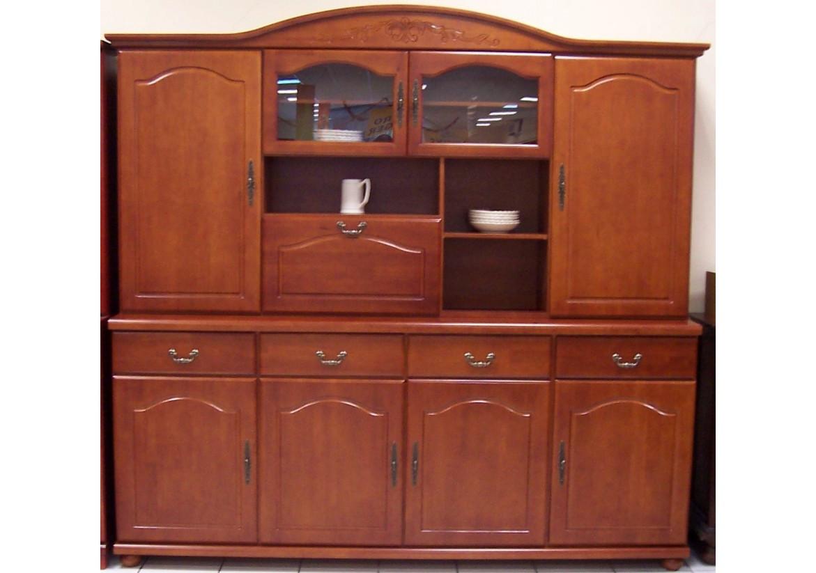 Grand living RENNES 8 portes 4 tiroirs 1 bar merisier - Living ...