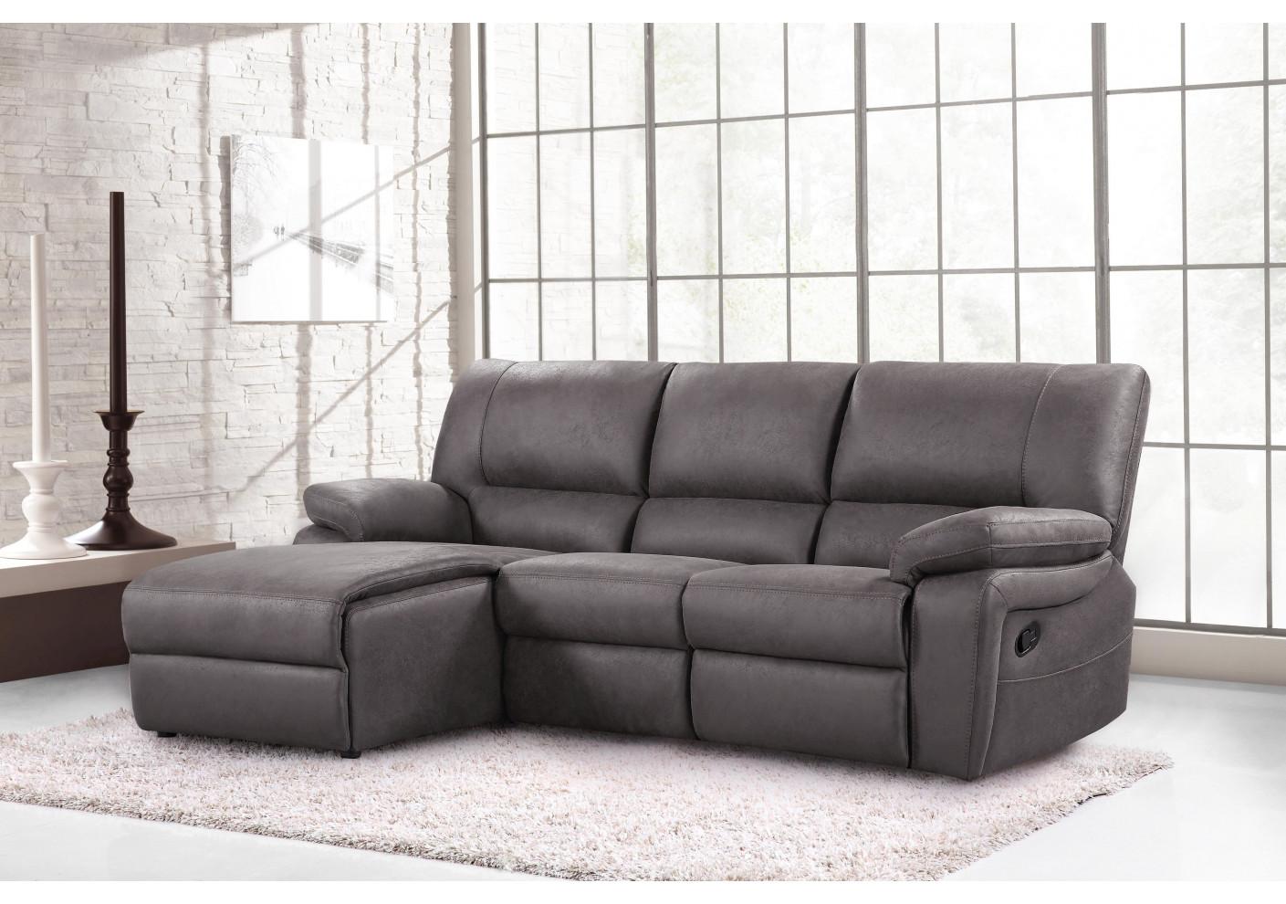 canap mauro m ridienne gauche nubuc gris canap s et. Black Bedroom Furniture Sets. Home Design Ideas