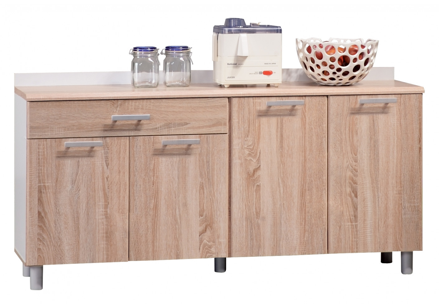 buffet bas 4 portes 1 tiroir phoenix blanc ch ne clair rangement. Black Bedroom Furniture Sets. Home Design Ideas