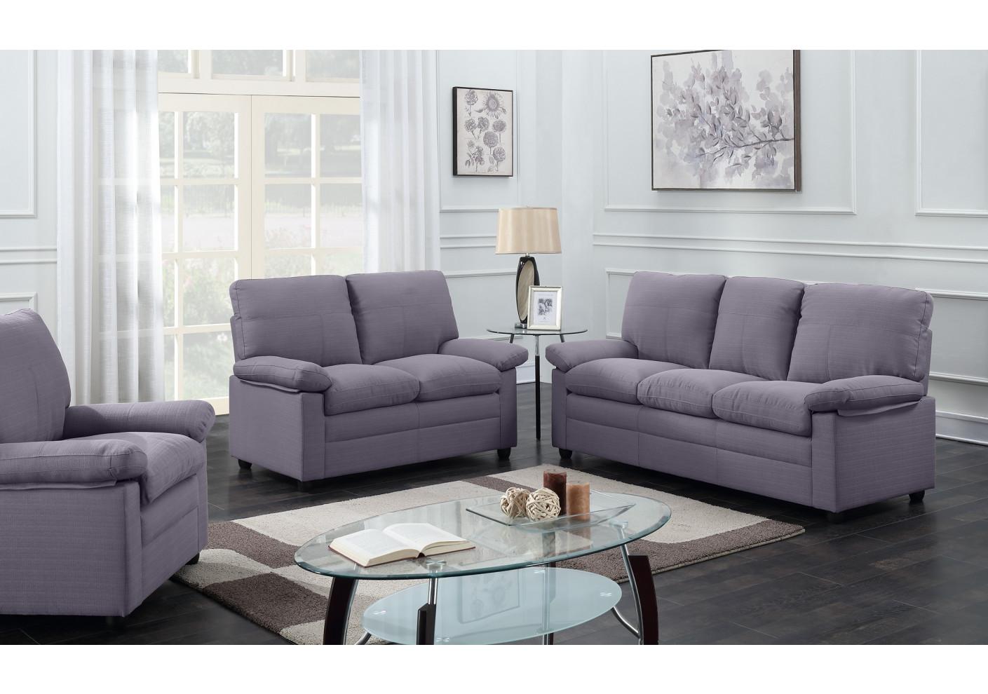 salon 3 pi ces chicago tissu gris fonc 1 canap 3 places 1 canap 2 places 1 fauteuil 1
