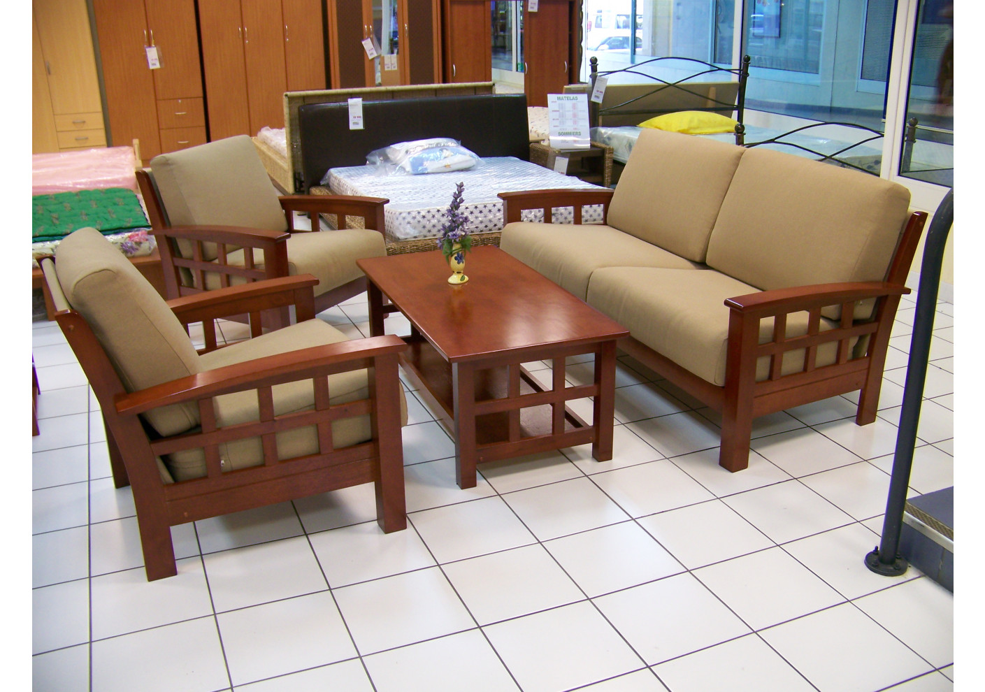 salon 4 pi ces osaka cappuccino microfibre olive 1 canap 3 places 2 fauteuils 1 table. Black Bedroom Furniture Sets. Home Design Ideas