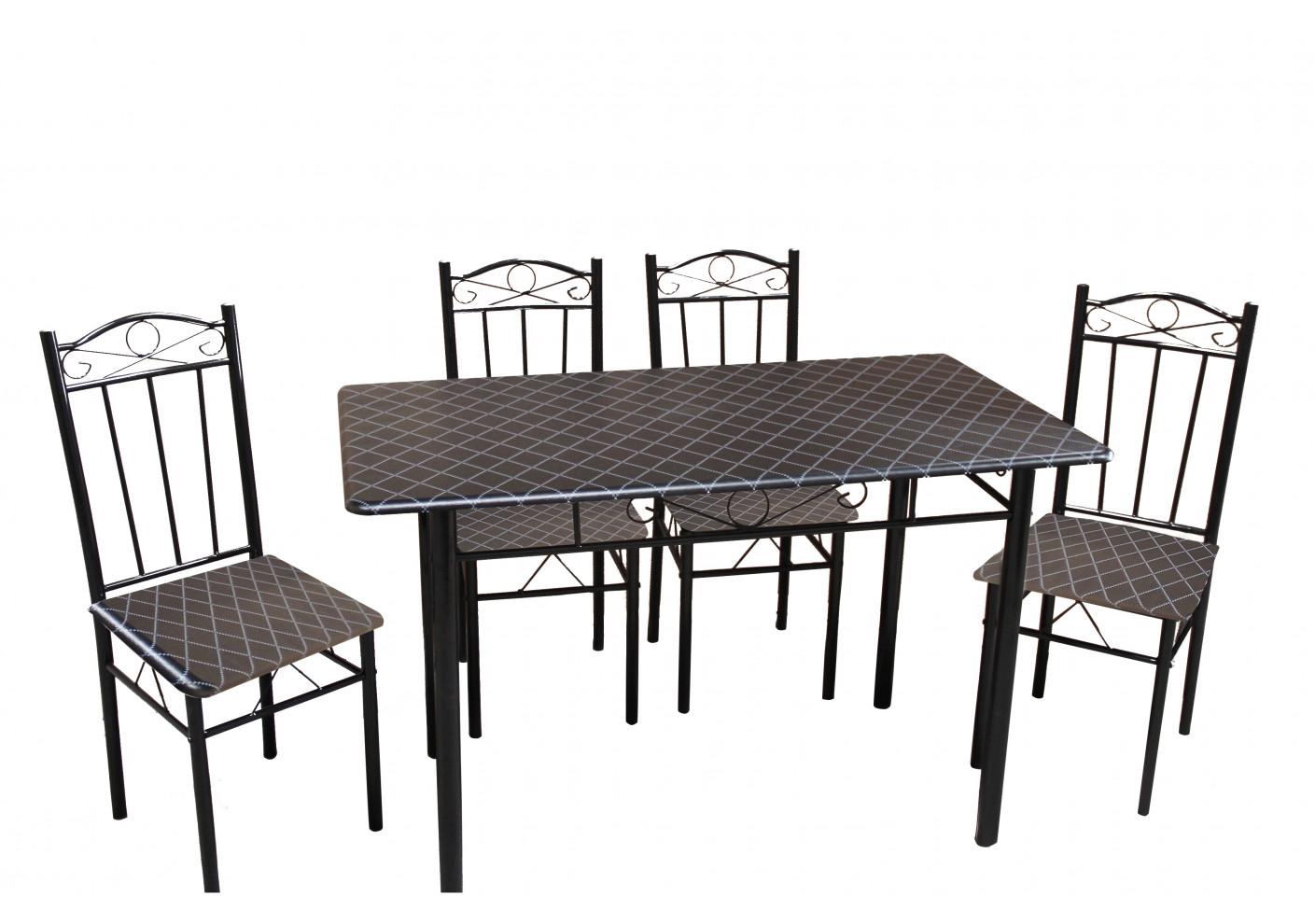 ensemble table et 4 chaises black ensemble tables et. Black Bedroom Furniture Sets. Home Design Ideas
