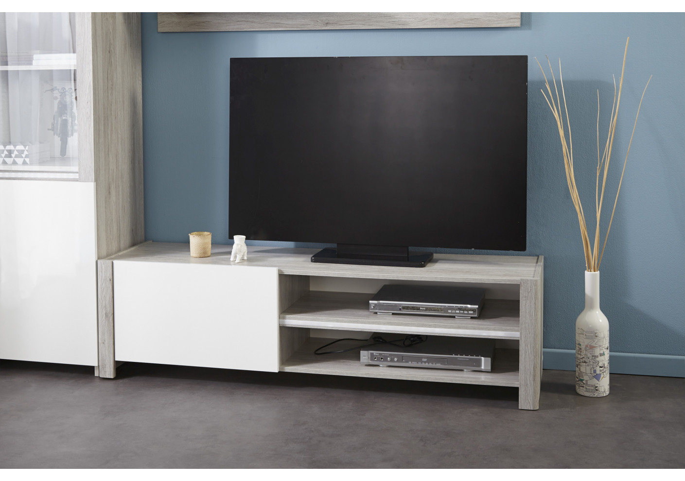 meuble tv lumiled blanc brillant et gris meubles tv salon. Black Bedroom Furniture Sets. Home Design Ideas