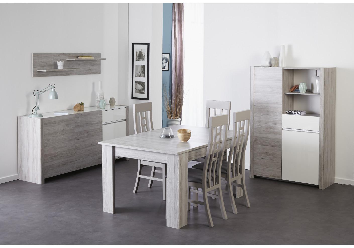vitrine lumiled blanc brillant et gris biblioth ques s jour. Black Bedroom Furniture Sets. Home Design Ideas