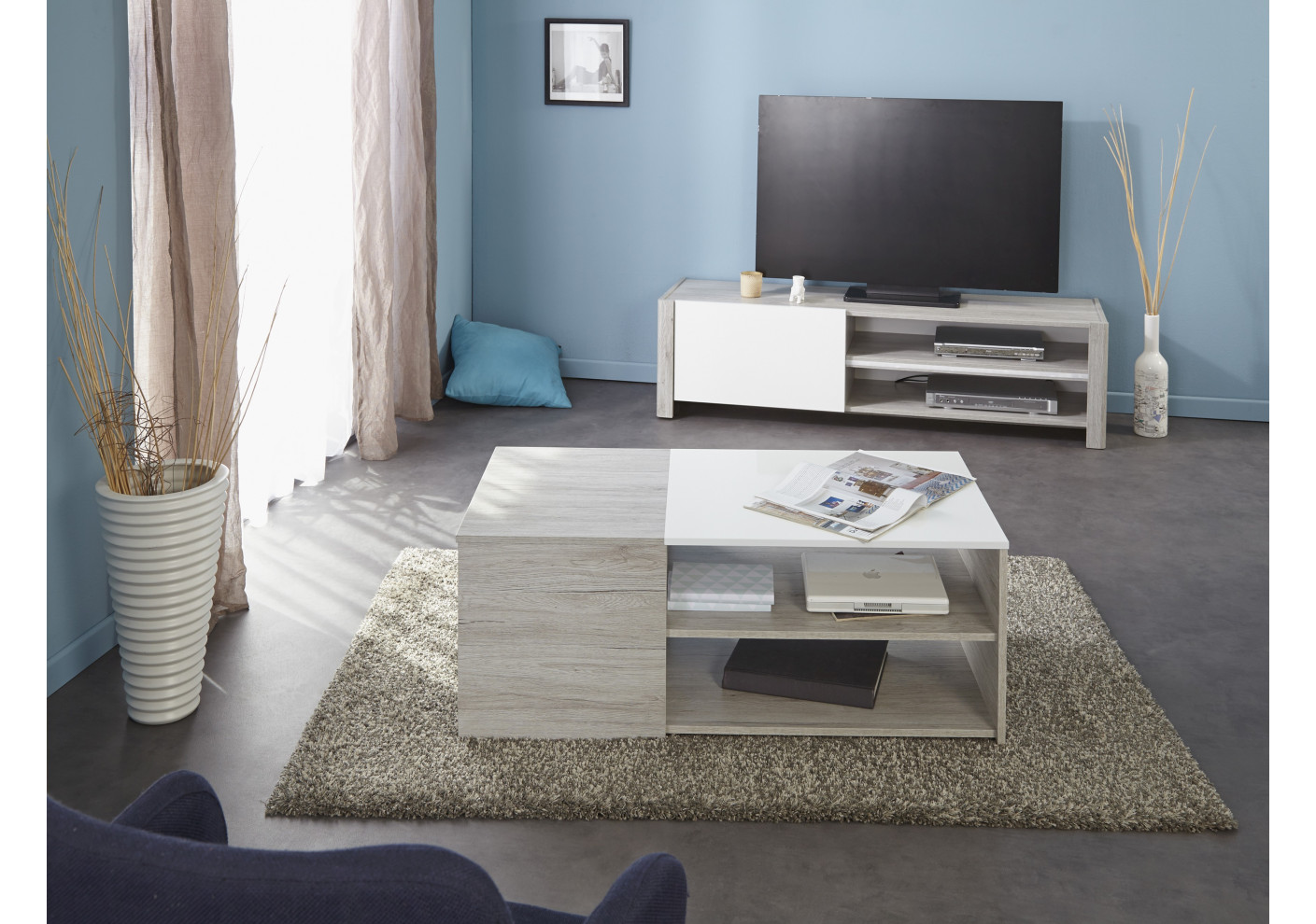 Meuble tv lumiled blanc brillant et gris meubles tv salon for Meuble gris