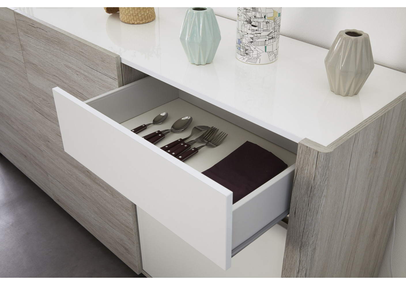 Buffet haut lumiled blanc brillant et gris living for Buffet haut sejour