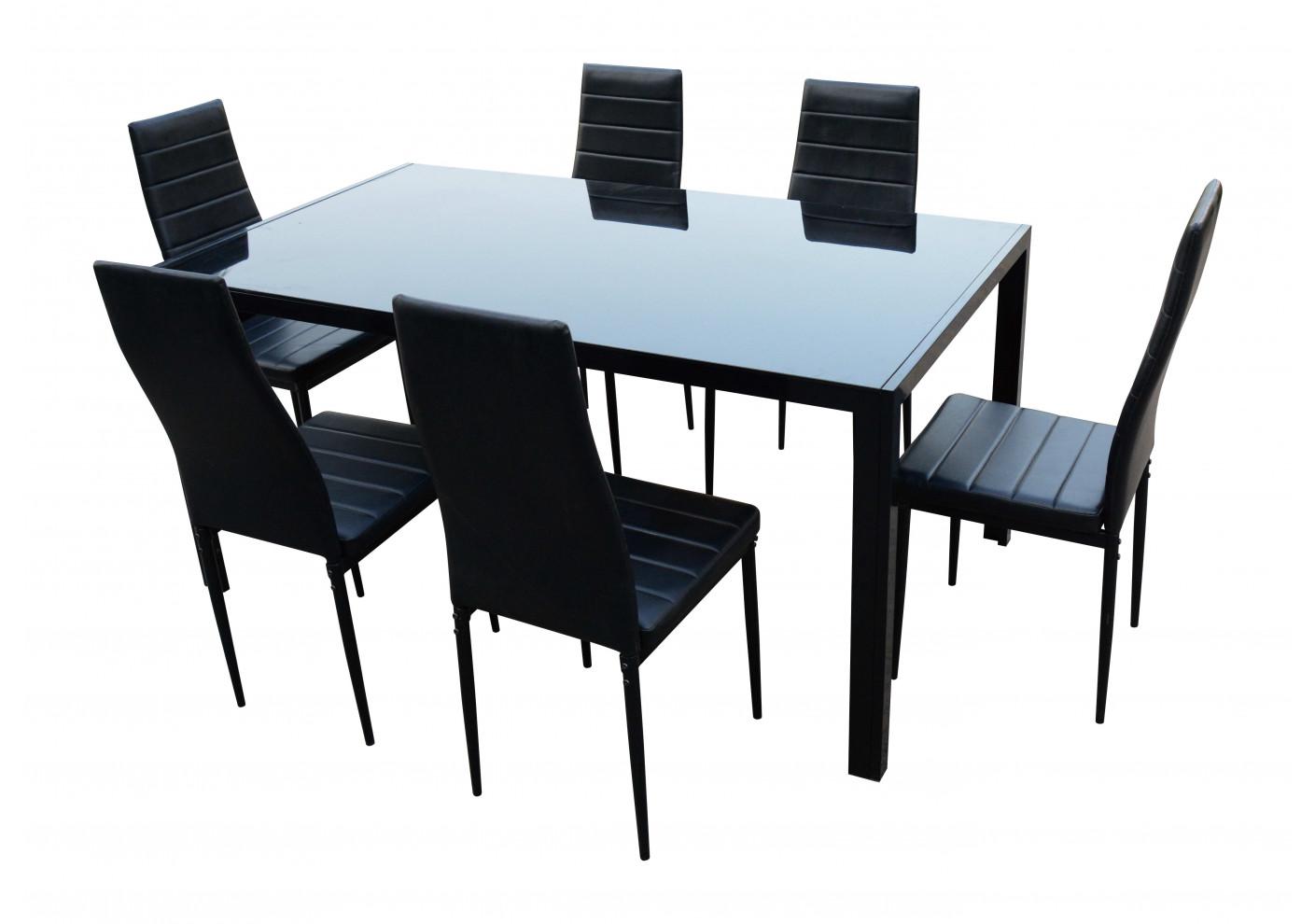 ensemble 1 table 6 chaises chelsea noir tables et ensembles s jour. Black Bedroom Furniture Sets. Home Design Ideas