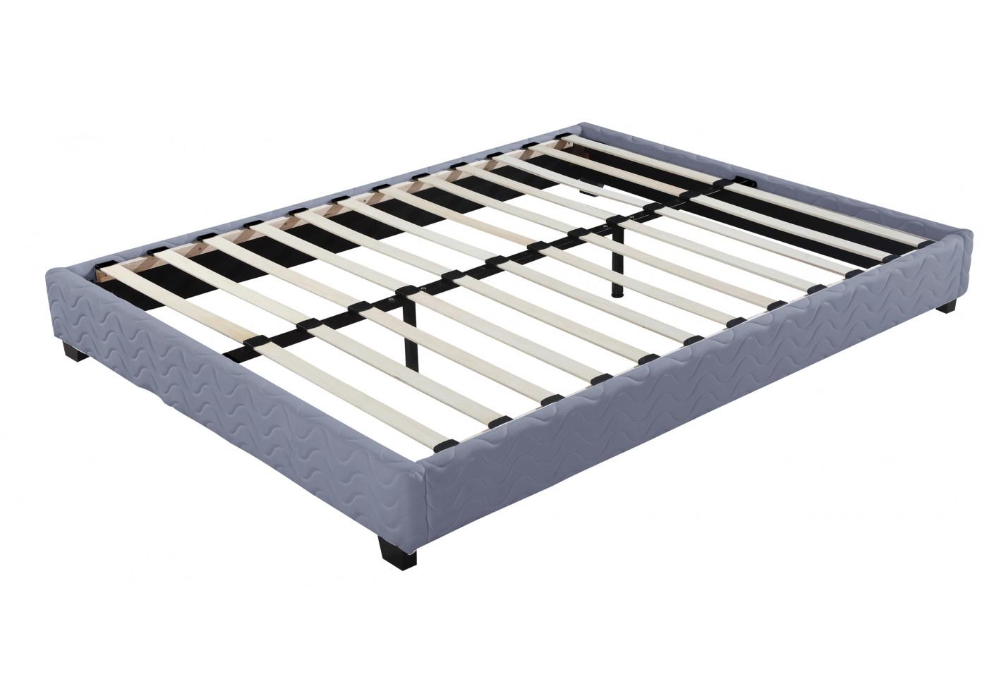 sommier tapissier divan 160x200 cm gris lits 2 places chambre. Black Bedroom Furniture Sets. Home Design Ideas