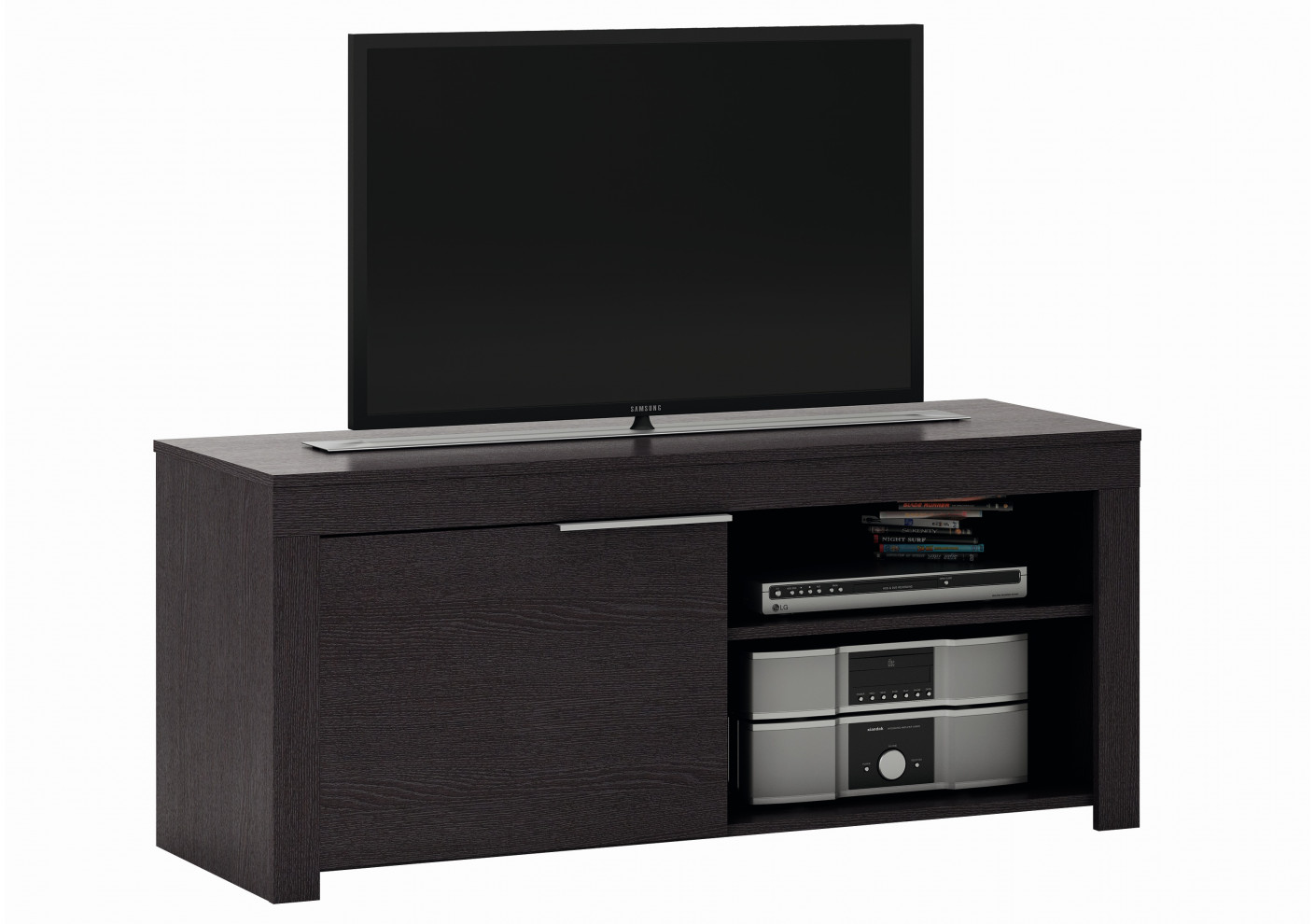 Meuble tv ebene 1 porte 2 niches meubles tv salon for Meuble porte tv