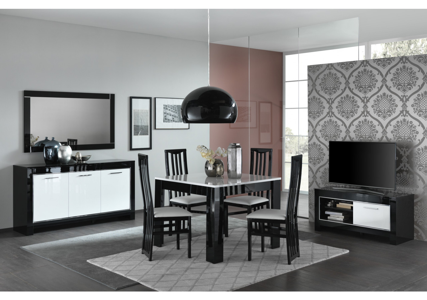 buffet modena noir et blanc 4 portes s jour. Black Bedroom Furniture Sets. Home Design Ideas