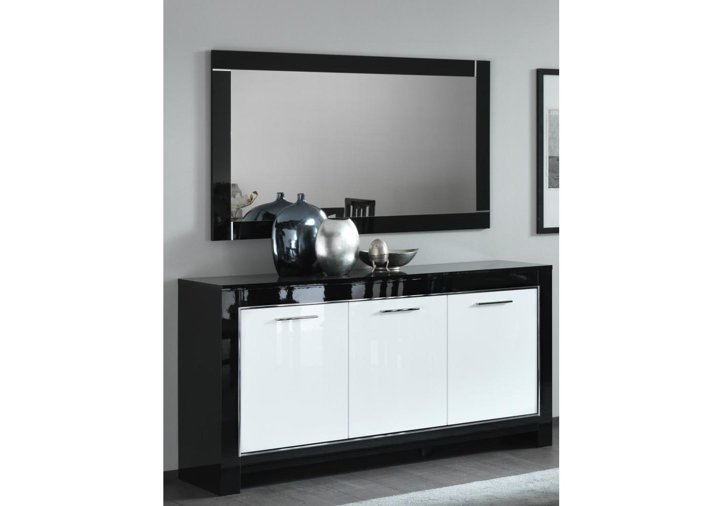 Buffet MODENA Noir et blanc 3 portes