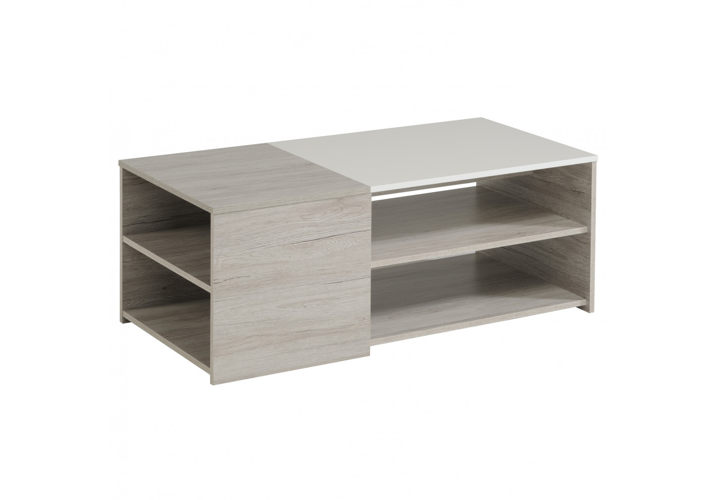 Table basse lumiled blanc brillant et gris - Table basse blanc brillant ...