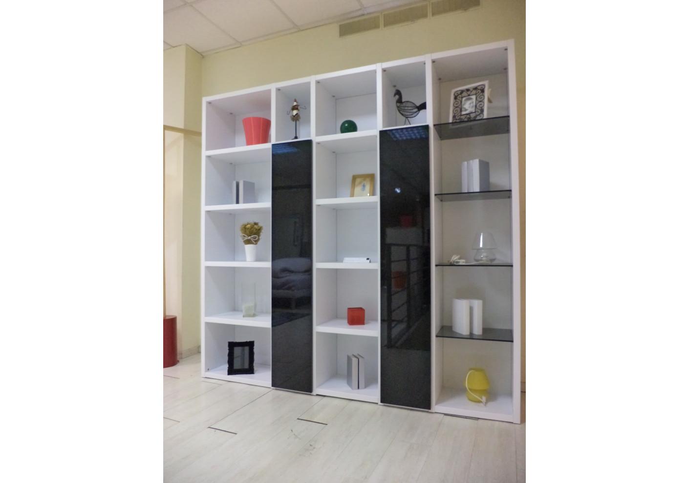 biblioth que reverso laqu e blanc portes noires. Black Bedroom Furniture Sets. Home Design Ideas