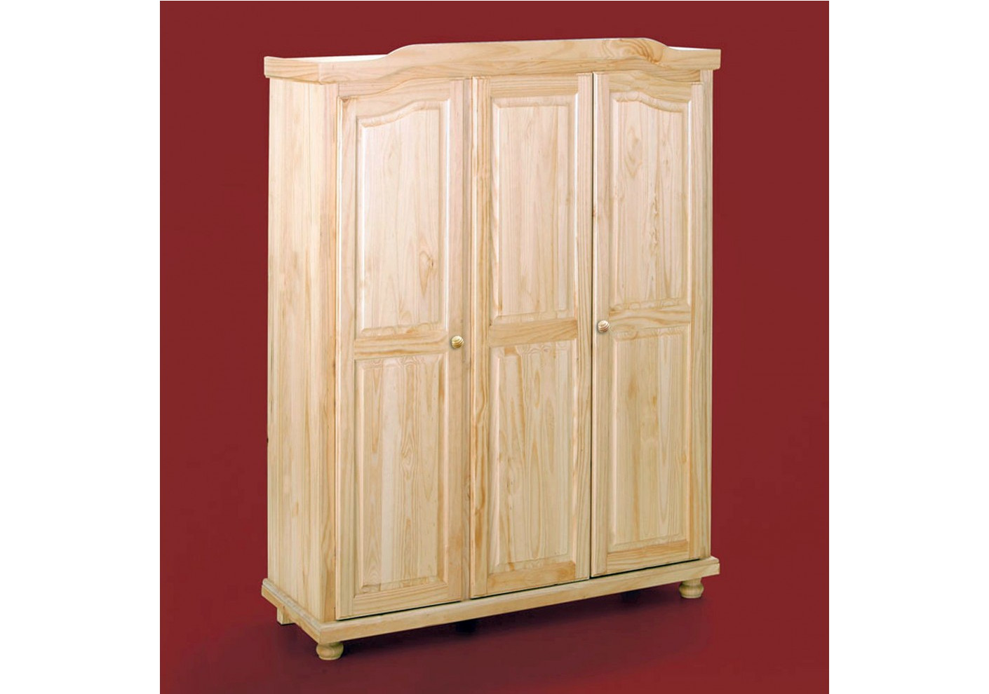 armoire paris pin massif 3 portes vernis naturel. Black Bedroom Furniture Sets. Home Design Ideas