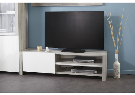 Meuble TV LUMILED Blanc brillant et gris
