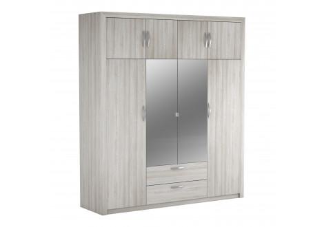 Armoire PLUTON chêne shannon 8 portes 2 miroirs 2 tiroirs