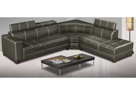 Canapé d'angle SEAN pvc gris