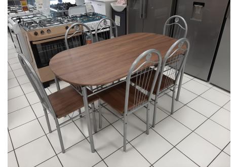 Ensemble Table et 6 chaises LOLA chêne/alu