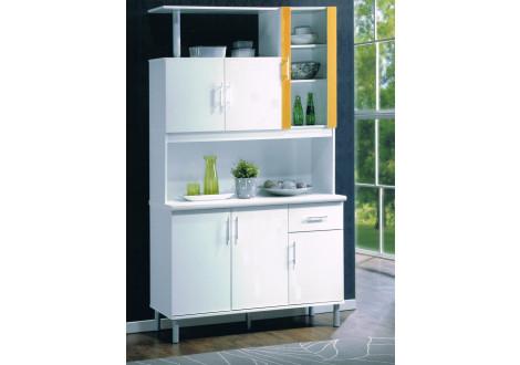 Vaisselier PLAYA 6 portes 1 tiroir blanc/jaune