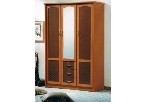Armoire LAGOON 3 portes 3 tiroirs miroir merisier