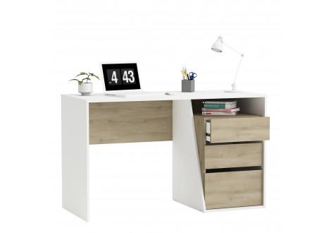 Bureau JEFFERSON 3 tiroirs ch^ne Kronberg et blanc