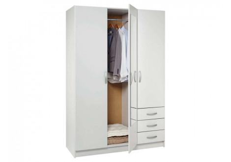 Armoire 3 portes 3 tiroirs + miroir SPOT blanc mat