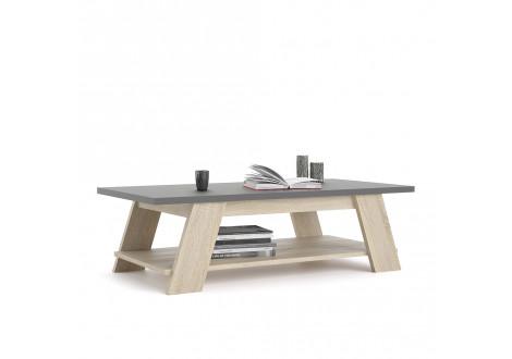 Table basse MOON gris et chêne