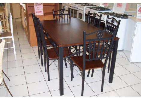 Ensemble 1 table+6 chaises CLASSICO noir et merisier