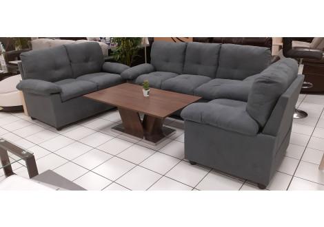 Salon 3 pièces ALABAMA tissu gris: 1 canapé 3 places + 1 canapé 2 places + 1 fauteuil 1 place