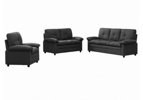 Salon 3 pièces ALABAMA tissu Anthracite: 1 canapé 3 places + 1 canapé 2 places + 1 fauteuil 1 place