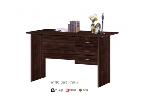Bureau ALIX 3 tiroirs décor wenge