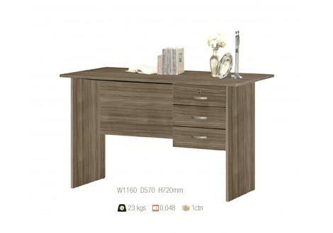 Bureau ALIX 3 tiroirs décor teck