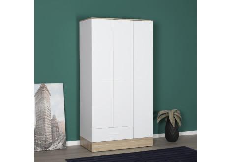 Armoire ALPHA 3 portes 1 tiroir décor chêne et blanc brillant
