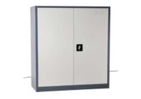 Armoire basse 2 portes 100 cm gris clair métal multi-fonctions AB2PB-100