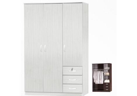 Armoire 3 portes/3 tiroirs CHERRY avec serrure chêne gris