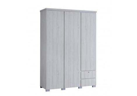 Armoire 3 portes 2 tiroirs ALBA chêne clair