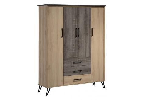 Armoire 4 portes/3 tiroirs SARA chêne clair/chêne gris