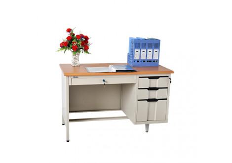 Bureau metallique avec caisson B3T-120 coloris gris clair/naturel