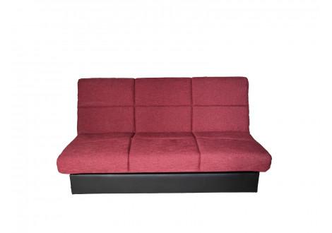 Banquette clic-clac CHANTILLY tissu rouge/pvc noir