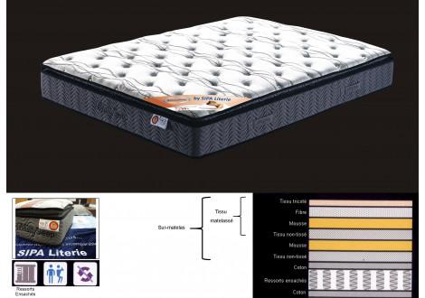 Matelas BEAUTY SLEEP 140x190 cm - Ressorts ensachés et sur-matelas inclus