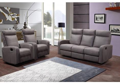 Salon 3 pièces BERGAME nubuc gris: 1 canapé 3 places/2 relax + 2 fauteuils 1 place relax