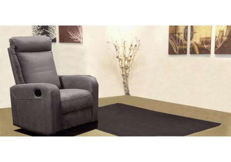 Fauteuil 1 place relax BERGAME nubuc gris