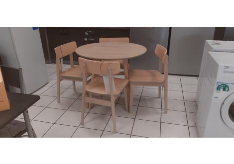 Ensemble table 120 et 4 chaises BETTY chêne clair