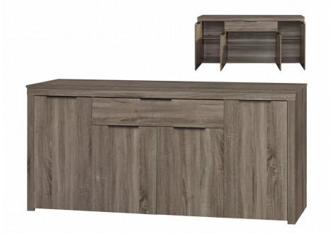 Buffet bas 4 portes 1 tiroir MOKA chêne  grisé