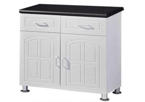 Buffet bas de cuisine 2 portes 2 tiroirs OSCAR 80 blanc/noir