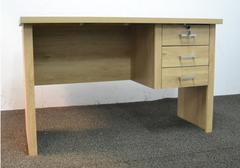 Bureau LEONCE Chêne clair3 tiroirs avec serrure