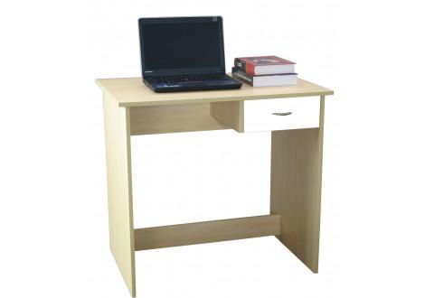 Bureau informatique HUGO hêtre/tiroir blanc