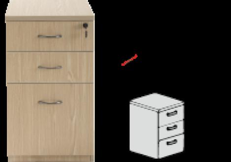 Caisson fixe PRIMUS 3 tiroirs profondeur 60 cm décor chêne