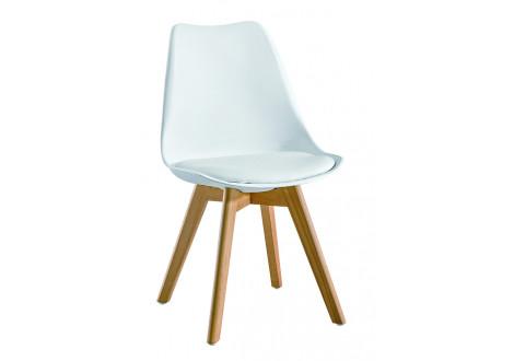 Chaise de salle à manger HELSINKI blanc et pieds bois
